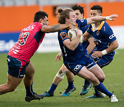 Tasman's Levi Aumua, left, makes a high tackle on Otago's Mitchell Scottin the Mitre 10 Cup rugby match, Forsyth Barr Stadium, Dunedin, New Zealand, Sept. 16 2017.  Credit:SNPA / Adam Binns ** NO ARCHIVING**