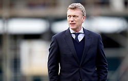 OLDHAM, ENGLAND - Saturday, February 16, 2013: Everton's manager David Moyes before the FA Cup 5th Round match against Oldham Athletic at Boundary Park. (Pic by Vegard Grott/Propaganda)