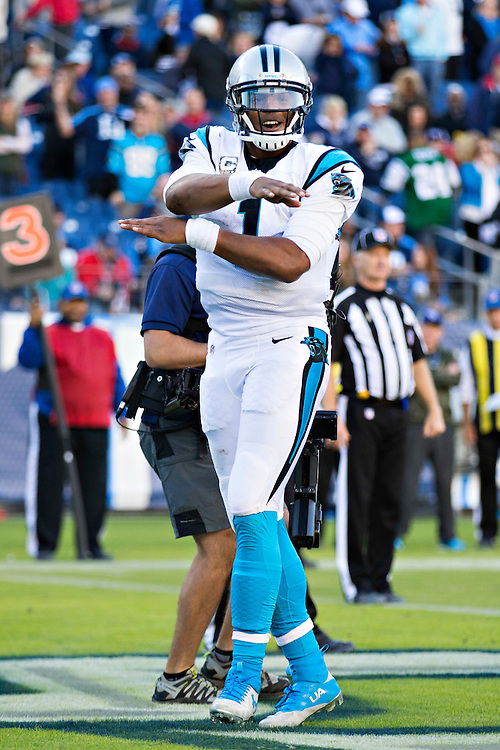 NASHVILLE, TN - NOVEMBER 15:  Cam Newton #1 of the Carolina Panthers does his touchdown dance after scoring a touchdown against the Tennessee Titans at Nissan Stadium on November 15, 2015 in Nashville, Tennessee.  (Photo by Wesley Hitt/Getty Images) *** Local Caption *** Cam Newton