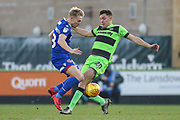 Morecambe's AJ Leitch-Smith(28) and Forest Green Rovers Paul Digby(20) challenge for the ball during the EFL Sky Bet League 2 match between Forest Green Rovers and Morecambe at the New Lawn, Forest Green, United Kingdom on 17 November 2018.