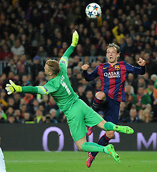 Barcelona's Ivan Rakitic lifts the ball over  Manchester City's Joe Hart to score - Photo mandatory by-line: Dougie Allward/JMP - Mobile: 07966 386802 - 18/03/2015 - SPORT - Football - Barcelona - Nou Camp - Barcelona v Manchester City - UEFA Champions League - Round 16 - Second Leg