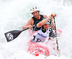27.06.2015, Verbund Wasserarena, Wien, AUT, ICF, Kanu Wildwasser Weltmeisterschaft 2015, C2 men, im Bild v.l. Normen Weber, Rene Brücker (GER) // during the final run in the men's C2 class of the ICF Wildwater Canoeing Sprint World Championships at the Verbund Wasserarena in Wien, Austria on 2015/06/27. EXPA Pictures © 2014, PhotoCredit: EXPA/ Sebastian Pucher