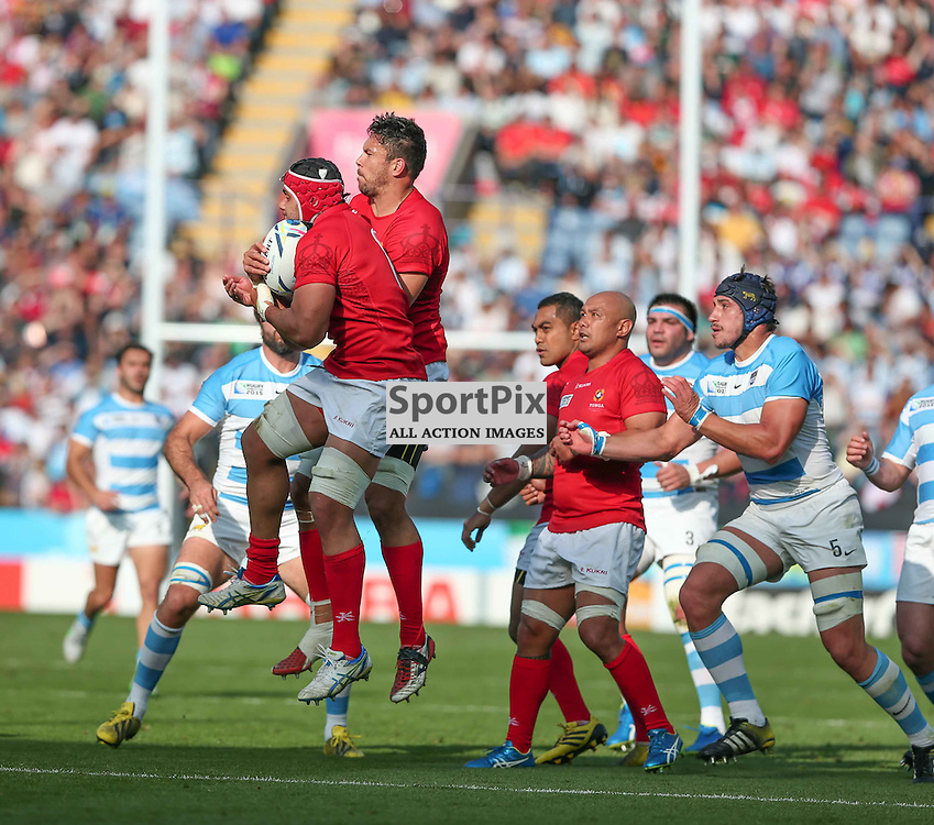 Tonga take a high ball during the Rugby World Cup Argentina v Tonga, Sunday 04 October 2015, Leicester City Stadium, Leicester, England Stadium (Photo by Mike Poole - SportPix)