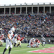 Tyler Varga, Yale, powers his yaw over for a touchdown during the Harvard Vs Yale, College Football, Ivy League deciding game, Harvard Stadium, Boston, Massachusetts, USA. 22nd November 2014. Photo Tim Clayton