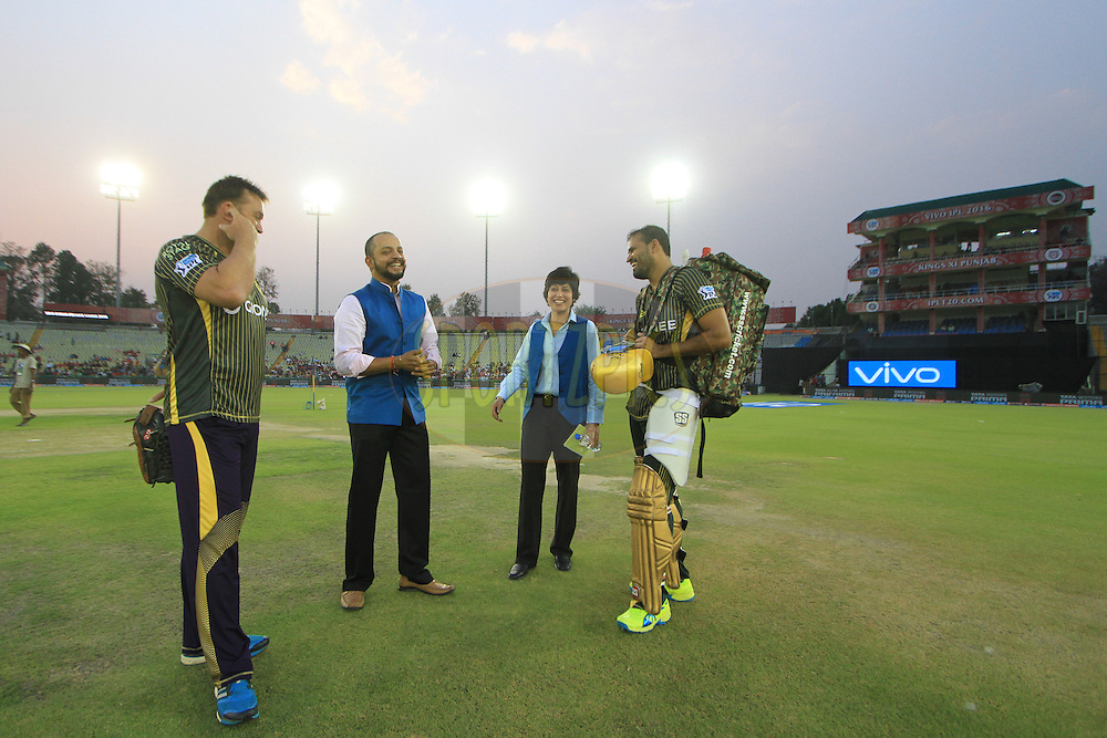 Yusuf Pathan of Kolkata Knight Riders and Kolkata Knight Riders coach Jacques Kallis with commentator during match 13 of the Vivo Indian Premier League ( IPL ) 2016 between the Kings XI Punjab and the Kolkata Knight Riders held at the IS Bindra Stadium, Mohali, India on the 19th April 2016<br /> <br /> Photo by Arjun Singh / IPL/ SPORTZPICS