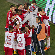 Nov 8, 2015; Harrison, NJ, USA; New York Red Bull team celebrates withNew York Red Bulls forward Bradley Wright-Phillips (99) after game winning goal during the second half of the MLS Playoffs at Red Bull Arena. Mandatory Credit: William Hauser-USA TODAY Sports