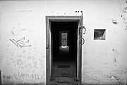 Exit door to stairs in the Zagan train station, Poland.