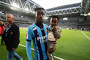 STOCKHOLM, SWEDEN - MAY 17: Tinotenda Kadewere of Djurgardens IF with his son Keith after the Allsvenskan match between Djurgardens IF and Orebro SK at Tele2 Arena on May 17, 2018 in Stockholm, Sweden. Photo by Nils Petter Nilsson/Ombrello ***BETALBILD***