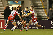 B Twelvetrees awaits to stop Sale attack during the Aviva Premiership match between Sale Sharks and Gloucester Rugby at the AJ Bell Stadium, Eccles, United Kingdom on 29 September 2017. Photo by George Franks.