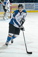 KELOWNA, CANADA, NOVEMBER 25: Jaedon Descheneau #9 of the Kootenay Ice warms up on the ice as the Kootenay Ice visit the Kelowna Rockets  on November 25, 2011 at Prospera Place in Kelowna, British Columbia, Canada (Photo by Marissa Baecker/Shoot the Breeze) *** Local Caption *** Jaedon Descheneau;