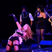 """Dawn Lewis aka """"Peaches Mahoney"""" perform with Vaud and the Villains at The Music Hall in Portsmouth, NH. July 2012."""
