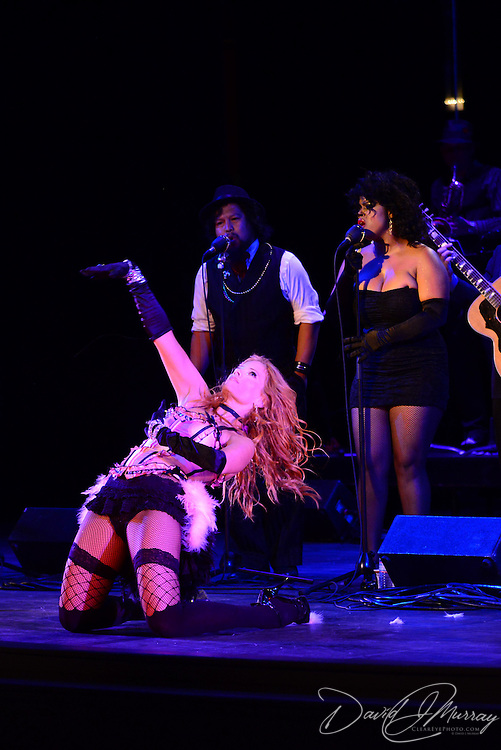 "Dawn Lewis aka ""Peaches Mahoney"" perform with Vaud and the Villains at The Music Hall in Portsmouth, NH. July 2012."