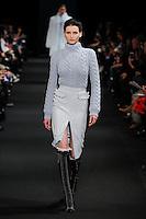 Katlin Aas (IMG New York) walks the runway wearing Altuzarra Fall 2015 during Mercedes-Benz Fashion Week in New York on February 14, 2015