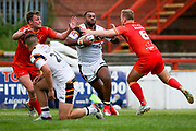 Bradford Bulls winger Iliness Macani (5) makes a break  during the Kingstone Press Championship match between Sheffield Eagles and Bradford Bulls at, The Beaumont Legal Stadium, Wakefield, United Kingdom on 3 September 2017. Photo by Simon Davies.