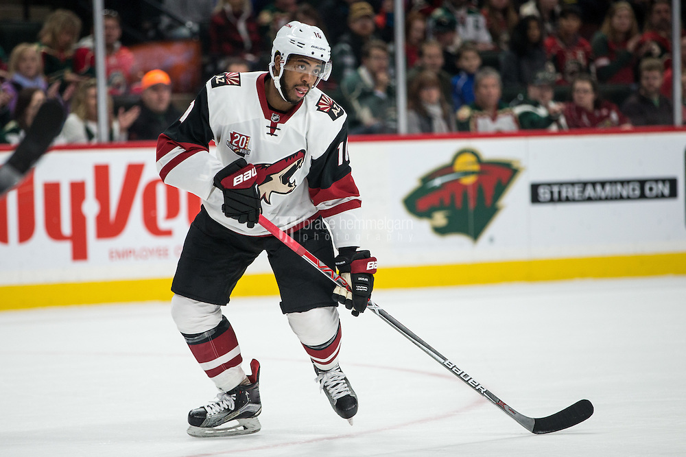 Dec 17, 2016; Saint Paul, MN, USA; Arizona Coyotes forward Anthony Duclair (10) against the Minnesota Wild at Xcel Energy Center. The Wild defeated the Coyotes 4-1. Mandatory Credit: Brace Hemmelgarn-USA TODAY Sports