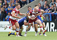 Liam Farrell of Wigan Warriors clashes with Ryan Atkins of Warrington Wolves during the Ladbrokes Challenge Cup, Quarter Final match at the Halliwell Jones Stadium, Warrington.<br /> Picture by Michael Sedgwick/Focus Images Ltd +44 7900 363072<br /> 02/06/2018