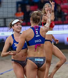 06-01-2019 NED: Dela Beach Open, Den Haag<br /> Finland win the bronze medal / Anniina Parkkinen #1 FIN, Taru Lahti-Liukkonen #2 FIN.