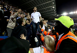 Fulham fans look angry and dejected as they see their side lose to Reading in the Championship Playoff Semi-Final - Mandatory by-line: Robbie Stephenson/JMP - 16/05/2017 - FOOTBALL - Madejski Stadium - Reading, England - Reading v Fulham - Sky Bet Championship Play-off Semi-Final 2nd Leg