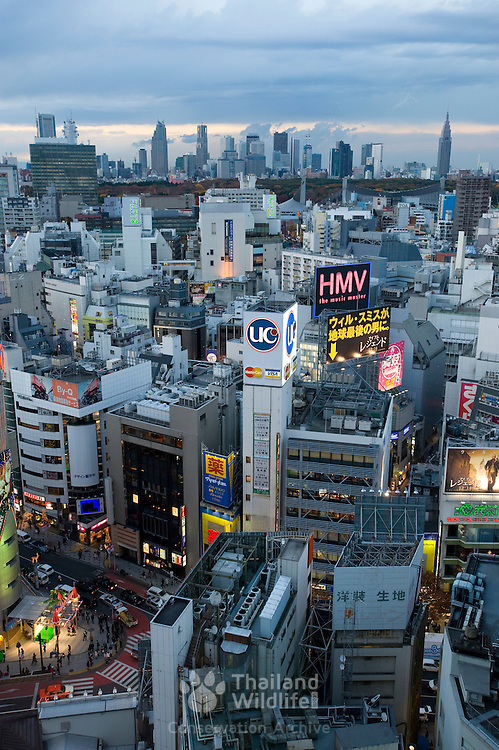"""View of Shibuya, Tokyo. The name """"Shibuya"""" is also used to refer to the central business district of Shibuya Ward, which surrounds Shibuya Station, one of Tokyo's busiest railway stations. Shibuya is known as one of the fashion centers of Japan, particularly for young people, and as a major nightlife area."""