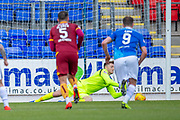 Mark Gillespie (#20) of Motherwell FC fails to save the penalty of Scott Tanser (#3) of St Johnstone FC during the Ladbrokes Scottish Premiership match between St Johnstone and Motherwell at McDiarmid Stadium, Perth, Scotland on 11 May 2019.