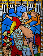 Victorian 19th century stained glass window, Lawshall church, Suffolk, England, UK by Horwood Bros - Abraham and Isaac