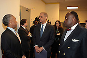 Washington, DC-April 11:  (L-R) Rev. Al Sharpton, Attorney General of the United States Eric Holder and Rev. Dr. W. Frankyln Richardson  attends the 14th Annual National Convention Special Plenary Presentation 1 with Attorney General of the United States Eric Holder held at the Walter E. Washington Convention on April 11, 2012 in Washington, DC. Photo by Terrence Jennings