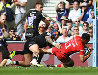 Rugby Union - 2019 Gallagher Premiership Final - Exeter Chiefs vs Saracens<br /> <br /> Saracens' Sean Maitland scores their fourth try, at Twickenham Stadium.  <br /> <br /> COLORSPORT / ALAN WALTER