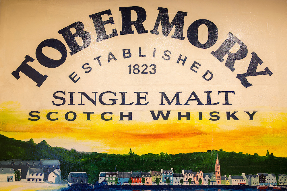 Sign at Tobermory Distillery for Single Malt Scotch Whisky on the Isle of Mull in the Western Isles of Scotland