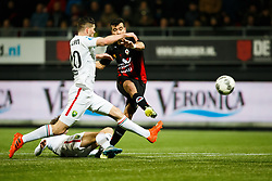 (L-R) Thijmen Goppel of ADO Den Haag, Nick Kuipers of ADO Den Haag, Ali Messaoud of Excelsior during the Dutch Eredivisie match between sbv Excelsior Rotterdam and ADO Den Haag at Van Donge & De Roo stadium on March 16, 2018 in Rotterdam, The Netherlands
