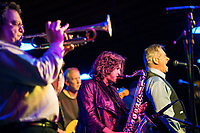 Rosemary's Baby Blues perform on stage at Pitman's Freight Room.  (Karen Bobotas/for the Laconia Daily Sun)