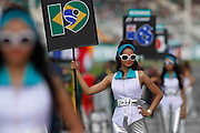 Grid girls pose at the starting grid during the 2012 Malaysian Formula One Grand Prix  at the Sepang International Circuit, 25th March 2012.