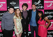 Echosmith, appears with Sadie Zapp, right, of The Breast Cancer Research Foundation, and James Buell, second right, Senior Director of Music and Marketing for Hard Rock International, at the launch event for Hard Rock International's 16th annual PINKTOBER breast cancer awareness campaign on Monday, September 14, 2015 at Hard Rock Cafe New York. (Photo by Diane Bondareff/Invision for Hard Rock International)