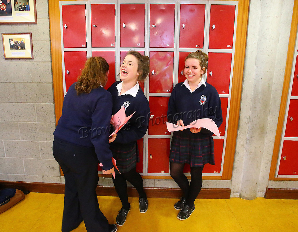12/06/2013. Leaving Certs Waterford. Pictured at Abbey Community College, Ferrybank, Waterford City are Dierdre Walsh, Mooncoin, Kilkenny, Audrey McCauliffe, Waterford and Amy Alcock, Slieverue, Co. Kilkenny after the French Exam. Photo: Patrick Browne