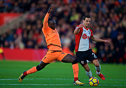 SOUTHAMPTON, ENGLAND - Sunday, February 11, 2018: Liverpool's Sadio Mane and Southampton's Cedric Soares during the FA Premier League match between Southampton FC and Liverpool FC at St. Mary's Stadium. (Pic by David Rawcliffe/Propaganda)