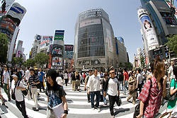 Fish-eye view of large pedestrian crossing at Shibuya in central Tokyo Japan