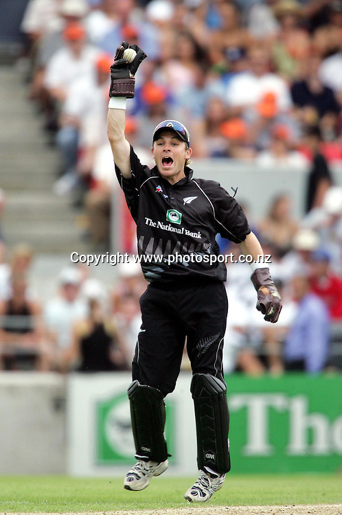 Brendon McCullum appeals during the first one day cricket match between the FICA World XI and New Zealand at Jade Stadium, Christchurch, New Zealand on Friday 21st January, 2005. Photo: Andrew Cornaga/Photosport<br />