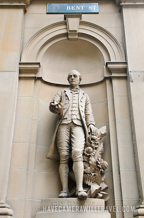 A statue of Australian explorer Allan Cunningham on the exterior of the Department of Lands on Bent Street in Sydney, New South Wales, Australia