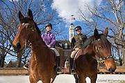 Mark Schneider and Katherine Pittman  training new horses at Colonial Williamsburg.