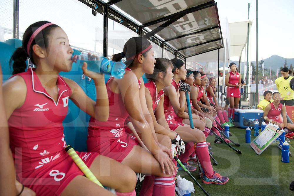 SANTIAGO - 2016 8th Women's Hockey Junior World Cup<br /> 32 JPN v CHI (9 / 12 Place)<br /> foto: Japanes dugout.<br /> FFU PRESS AGENCY COPYRIGHT FRANK UIJLENBROEK