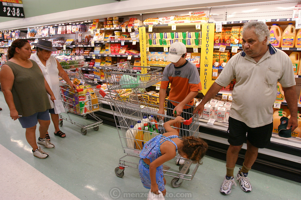 (MODEL RELEASED IMAGE). While the Brown family of Riverview, Australia are used to living with a nearly-empty refrigerator, they look forward to the days when it's full. Every two weeks a new check appears and the family goes to the supermarket. Hungry Planet: What the World Eats (p. 26).