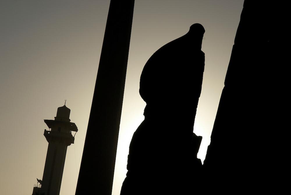 Egypt, Luxor. December/24/2008...Luxor temple silhouettes against a morning's sunrise.