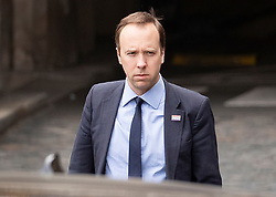 © Licensed to London News Pictures. 27/03/2019. London, UK. Health Secretary Matt Hancock leaves Parliament after prime minister's questions. MPs will hold a series of indicative votes on different Brexit options this evening. Photo credit: Peter Macdiarmid/LNP