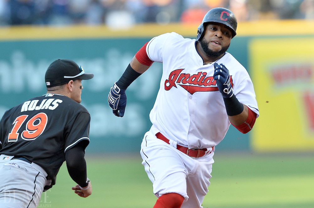 Sep 4, 2016; Cleveland, OH, USA; Cleveland Indians first baseman Carlos Santana (41) advances to third during the seventh inning on a hit by Cleveland Indians second baseman Jason Kipnis (not pictured) against the Miami Marlins at Progressive Field. Mandatory Credit: Ken Blaze-USA TODAY Sports