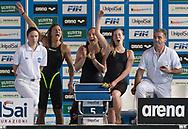 4x200 stile libero donne Fiamme Oro <br /> CUSINATO Ilaria, MUSSO Erica, PIROZZI Stefania, PANZIERA Margherita<br /> Riccione 13-04-2018 Stadio del Nuoto <br /> Nuoto campionato italiano assoluto 2018<br /> Photo &copy; Andrea Staccioli/Deepbluemedia/Insidefoto