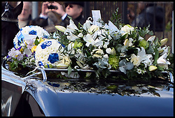Flowers in the shape of Millwall footballs on top of the hearse for the former general secretary of the RMT union Bob Crow funeral from Woodford Green to the City of London Cemetery and Crematorium North East, London, United Kingdom. Monday, 24th March 2014. Picture by Andrew Parsons / i-Images