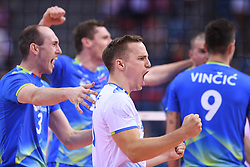 Ziga Stern, Janik Kovacic, Dejan Vincic of Slovenia during the CEV Volleyball European Championship game Poland - Slovenia on August 30, 2017 in Krakow, Poland. (Photo by Krzysztof Porebski / Press Focus)