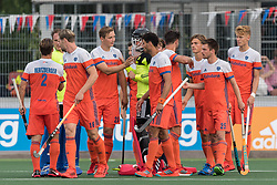 players of The Netherlands wishing eachother good luck for the match during the Champions Trophy match between the Netherlands and France on the fields of G.H.C. Rapid on June 15th, 2018 in Gorinchem, The Netherlands.