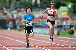 JEON Min Jae, NICOLEITZIK Claudia, KOR, GER, 200m, T36, 2013 IPC Athletics World Championships, Lyon, France