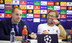 NAPLES, ITALY - Monday, September 16, 2019: Liverpool's manager Jürgen Klopp (R) jokes with the translator during a press conference at the Stadio San Paolo ahead of the UEFA Champions League Group E match between SSC Napoli and Liverpool FC. (Pic by David Rawcliffe/Propaganda)