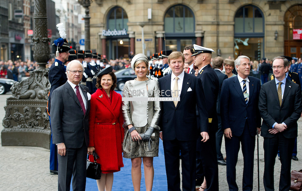 AMSTERDAM - 04-04-2014 Audience Arrival of Queen Silvia and King Carl-Gustaf for an audience with Queen Maxima and King Willem-Alexander at the Koninklijk palace in Amsterdam.  COPYRIGHT ROBIN UTRECHT